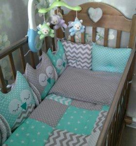 Бортики +кроватка с матрасом