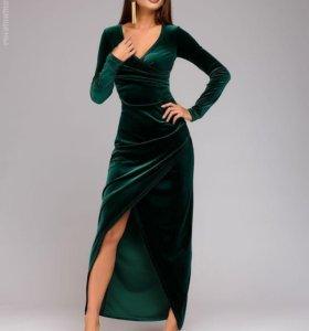 Новое зеленое бархатное платье в пол 1001 DRESS