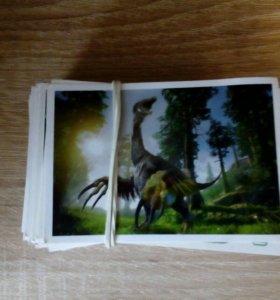 Карточки - наклейки динозавры дикси