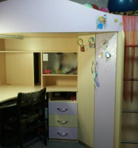 Кровать чердак с рабочей зоной для детской комнаты