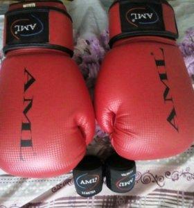 Перчатки боксёрские и бинты