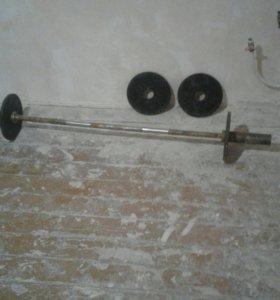 Прямой гриф с блинами на 35 кг