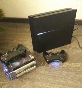 Sony Playstation 4 + 2 джойстика + 10 игр