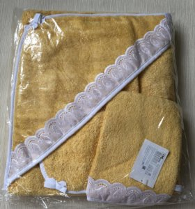 Полотенце махровое с уголком+варежка