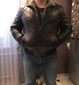 Куртка мужская зимняя кожаная,на меху