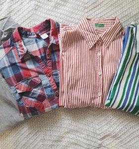 4 рубашки Beneton, HM, Mango, Topshop размер S/42