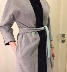 Новое серое пальто Chic со вставками