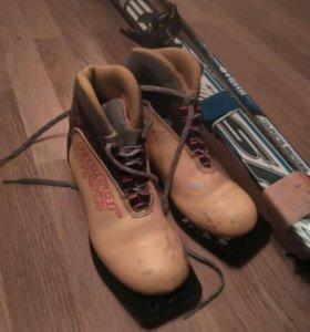 Лыжи spine с ботинками, палками и крепителем для п