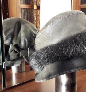 Продам женскую модельную шапку из нубука.