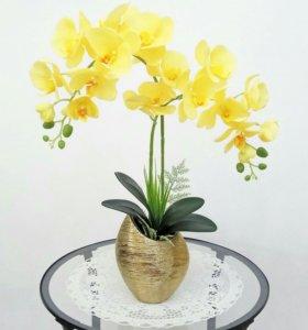 """Композиция из искусственных орхидей """"Солнечная"""""""