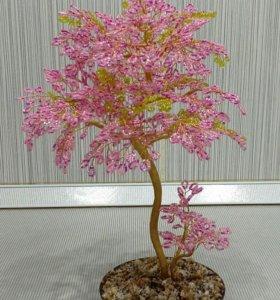 Дерево из бисера - цветущая сакура
