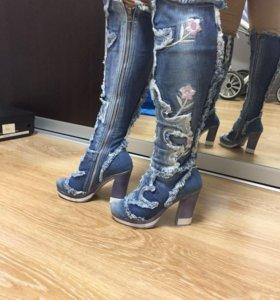 Сапоги джинсовые