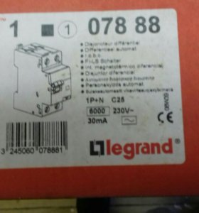 Дифавтомат legrand 1P +N 30mA/25A