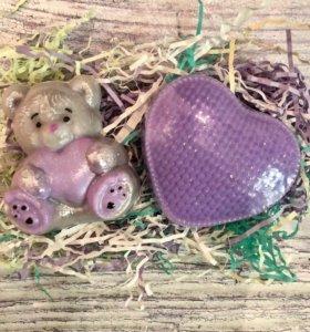 Набор сувенирного мыла мишка и сердце к 14 февраля