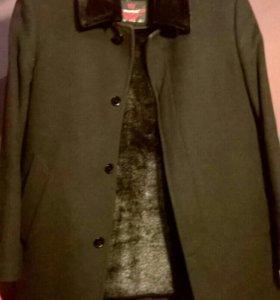 Драповое утепленное пальто