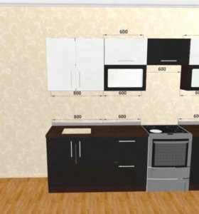 Стильный кухонный гарнитур 2,6м металлик, мдф