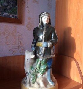 """Гипсовая статуэтка """"Охотник с лайкой"""""""