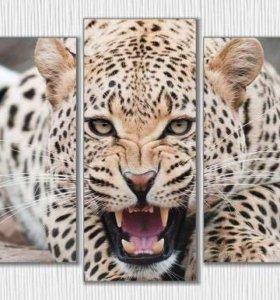"Модульная картина ""Леопард с диким оскалом"""