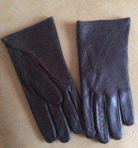 Кожаные коричневые перчатки новые!