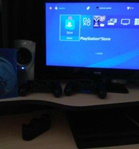 Playstation 4 slim, 2 геймпада, игры
