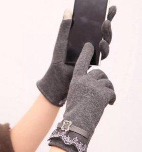 Перчатки женские с пальчиком touch screen в ассорт