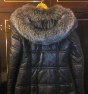 Куртка кожаная черная пуховик