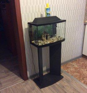 Аквариум 40 литров на подставке (тумбе)