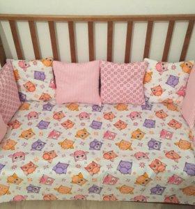 Бортики и одеяло для малышки