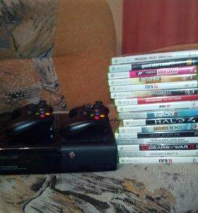 Xbox 360 2 джойстика+16 игр+ кинект и HDIM