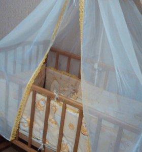 Кроватка детская + матрас + постельное