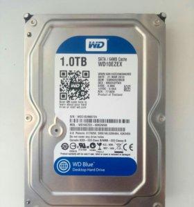 1тб Жесткий диск WD Blue 7200rpm, SATA 3 WD10ezex