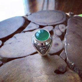 Перстень серебро, хризопраз. Ручная ковка