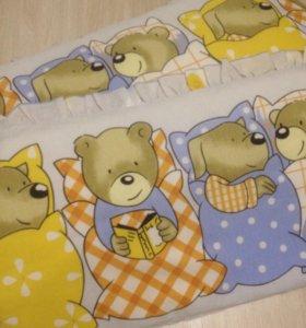 """Бортики для деткой кроватки """"Мишки""""."""