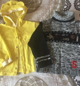 Кофты, рубашка, жилет на 1-3 года, можно пакетом