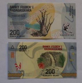 Мадагаскар 200 ариари 2017 г. UNC.