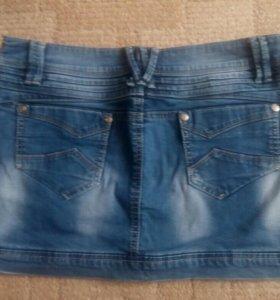 мини-юбка джинсовая.
