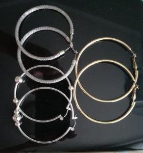 Серьги кольца новые