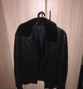 Мужская куртка кожаная с мехом норки