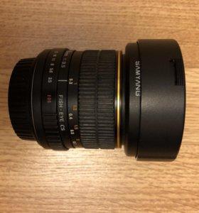Объектив Fisheye для Canon Samyang 8mm F3.5