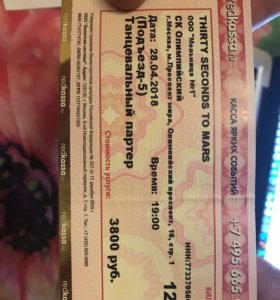 Билет на концерт группы thirty seconds to mars