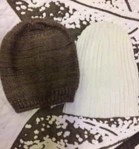 4 демисезонных шапок, шаль и шарф