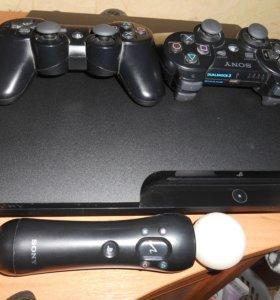 PS 3 300GB + 2 геймпада, PS Move и 23+ игр