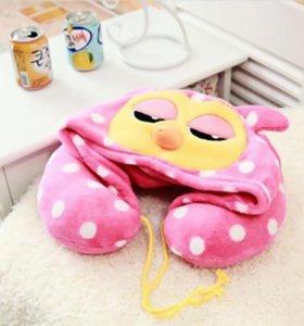 Дорожная подушка с капюшоном Сова