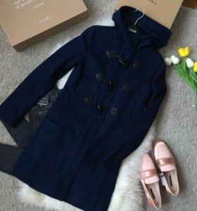 Пальто шерстяное синее