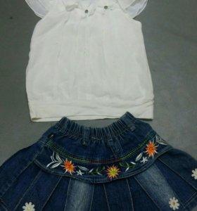 Юбка джинсовая +блузка