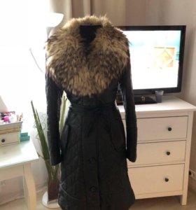 Пальто из натуральной кожи с натуральным енотом!