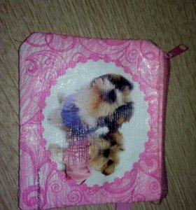 Красивый розовый кошелёк с милыми собачками