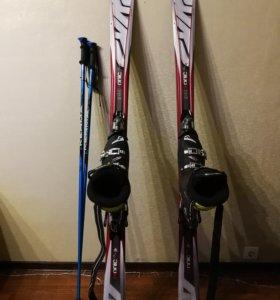 Горные лыжи, ботинки, палки ОТЛИЧНОЕ СОСТОЯНИЕ