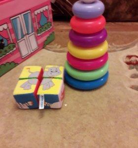 Пирамидка и кубики