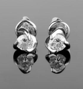 Золотые пусеты с бриллиантами 0,31 ct